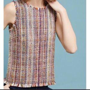 Anthro Maeve Sleeveless Fringe Multi Tweed Blouse
